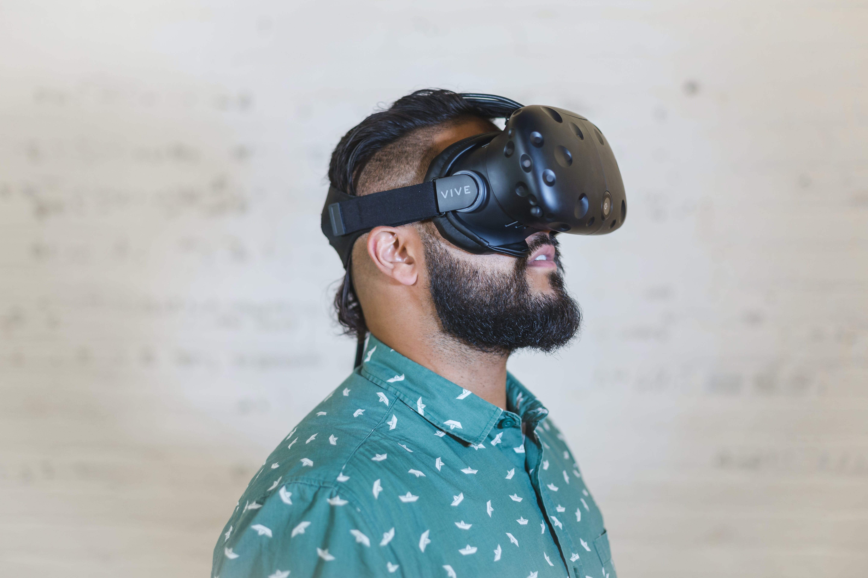 Man Wearing Black Vr Goggles