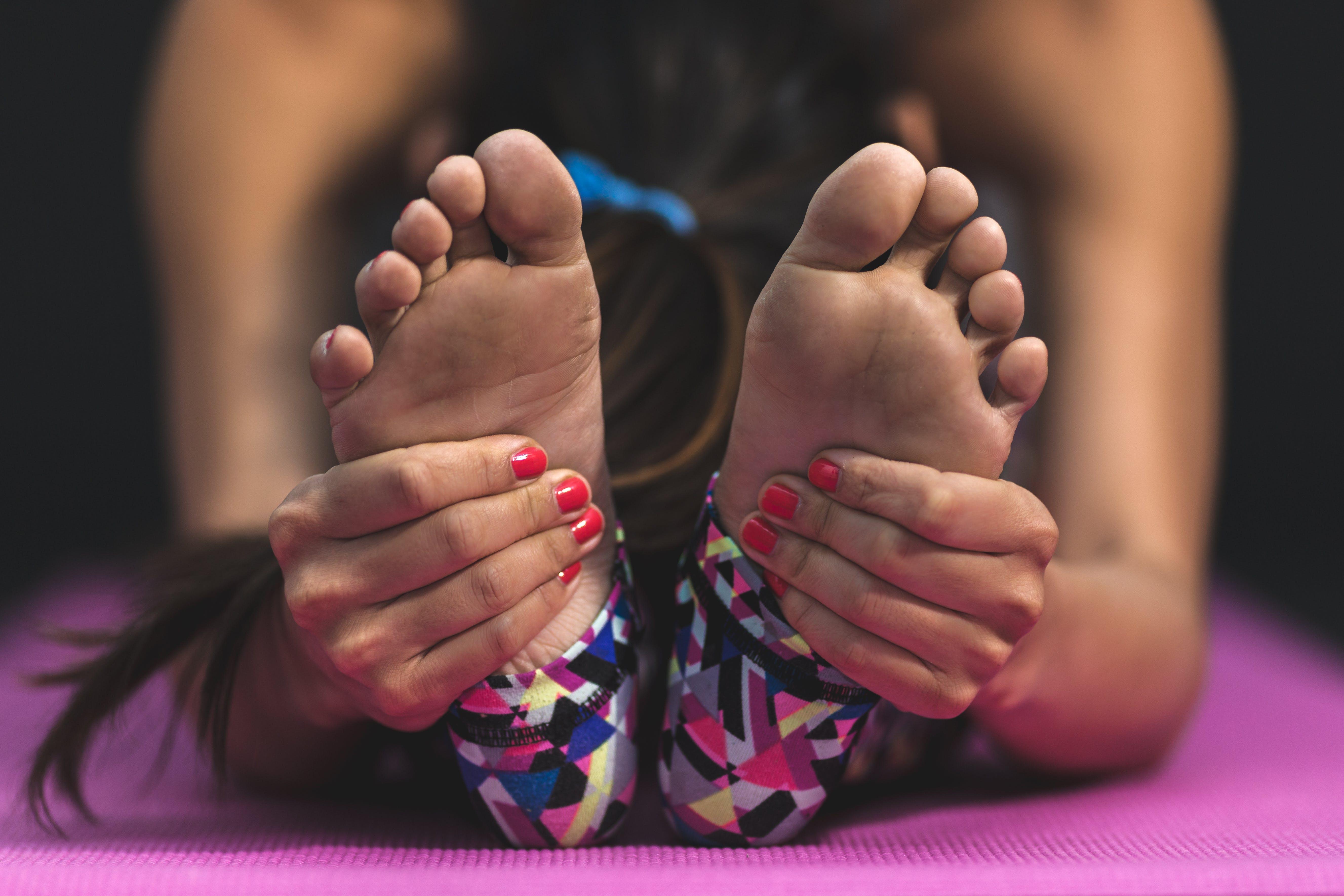 Woman Wearing Multicolored Leggings