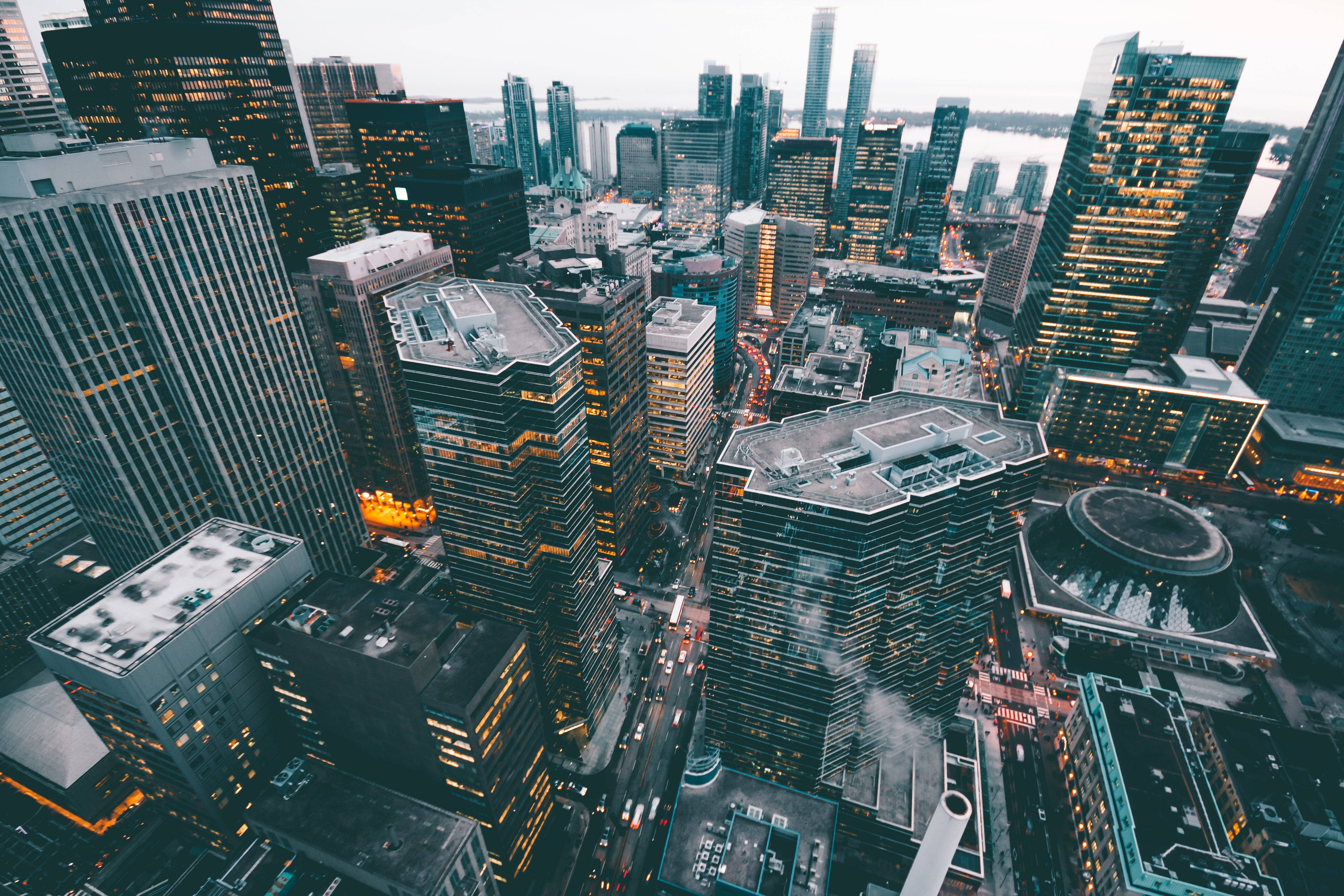 Aerial Photo Of City Commercial Buildings Free Stock Photo