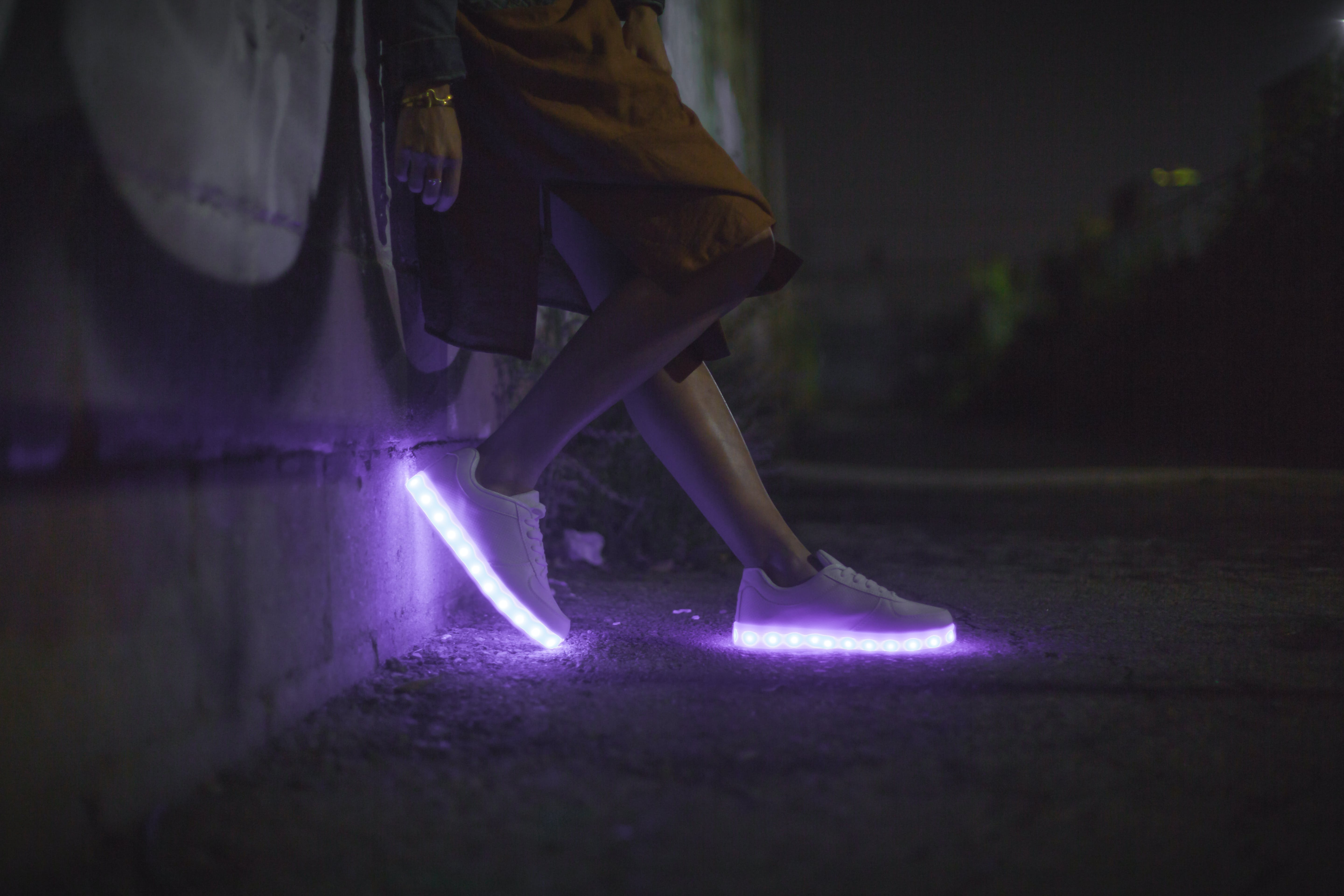 Pair of White White Led Soles Shoes