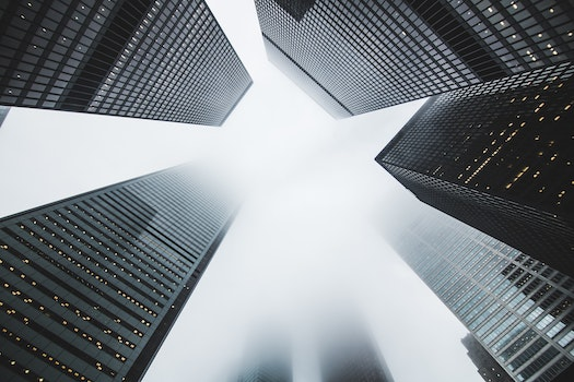 Free stock photo of city, buildings, fog, skyscrapers