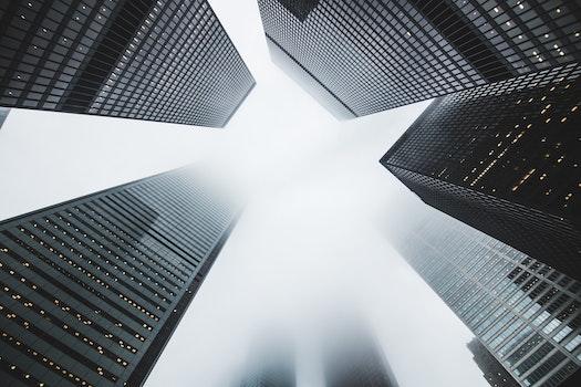 Kostenloses Stock Foto zu stadt, gebäude, nebel, wolkenkratzer