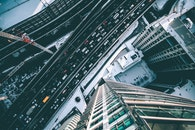city, bird's eye view, cars