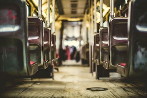 Grey Metal Train Seats