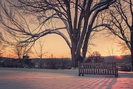 snow, dawn, sunset