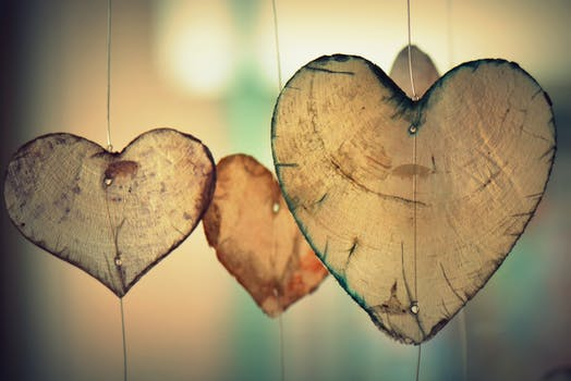 Brown Heart Shaped Hanging Decor