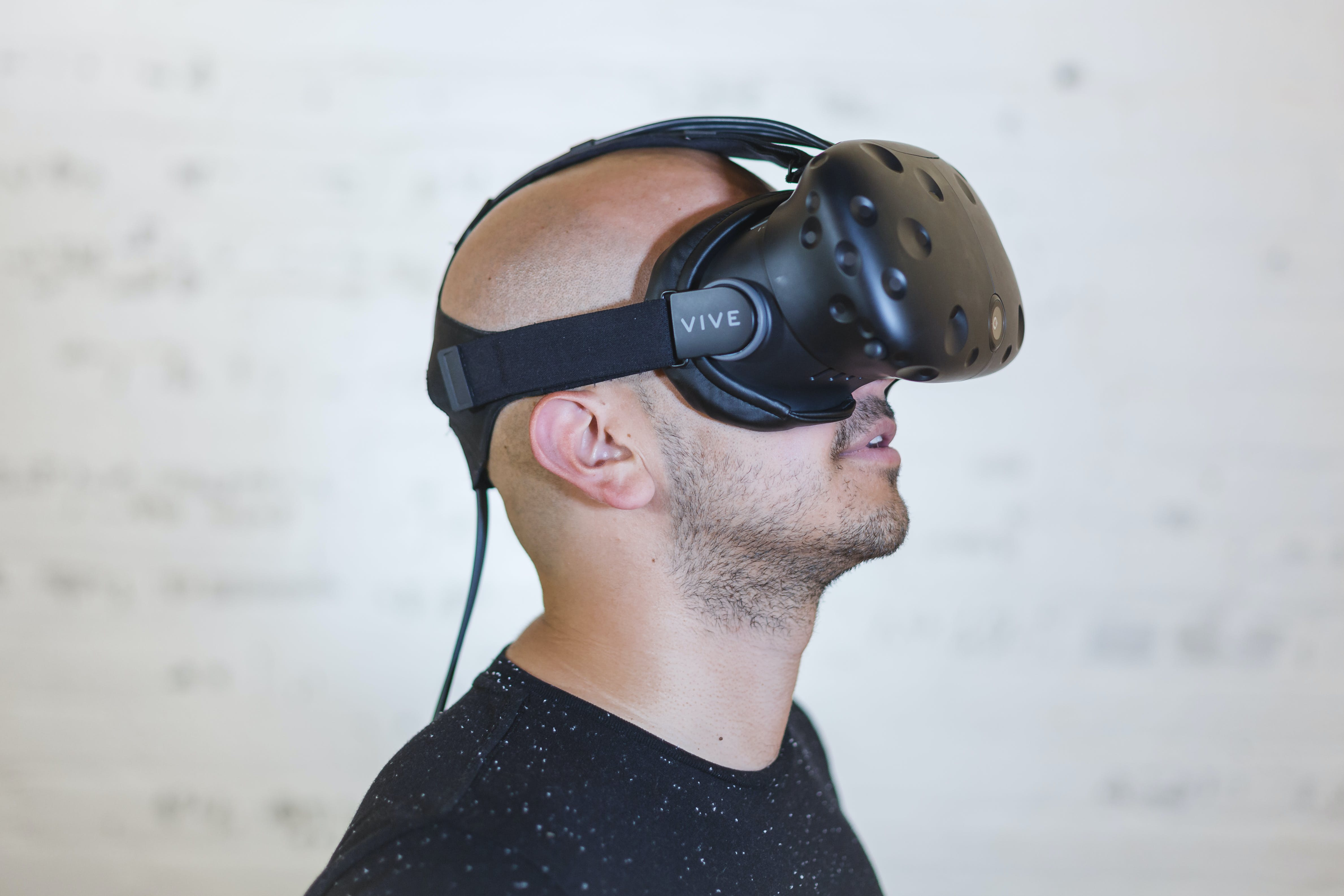 Man Wearing Black Vr Headset