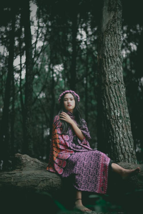 Full body calm ethnic female in ornamental dress and headband sitting on fallen trunk in mysterious forest