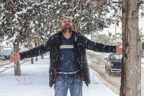 Free stock photo of man, snow, snowfall