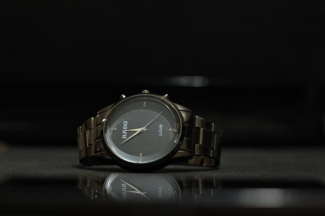 Free stock photo of analog watch, black background, product photography