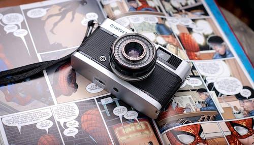 Retro camera on comic book