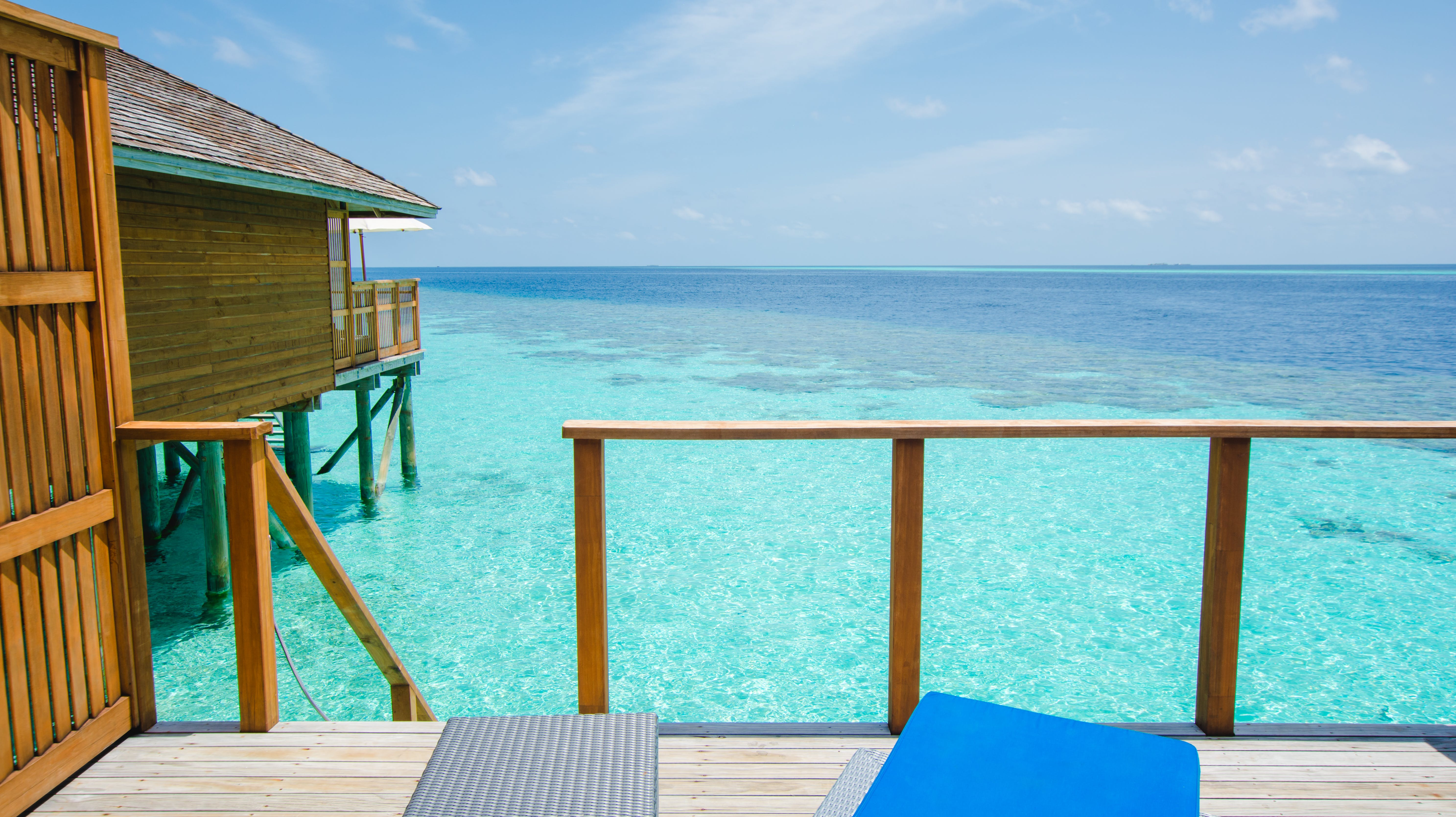 Blue and Gray Sun Lounges Near Body of Water