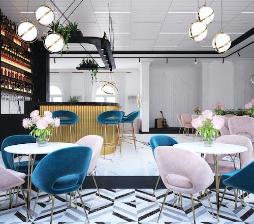Mobili In Un Elegante Bar Con Palco Ovale