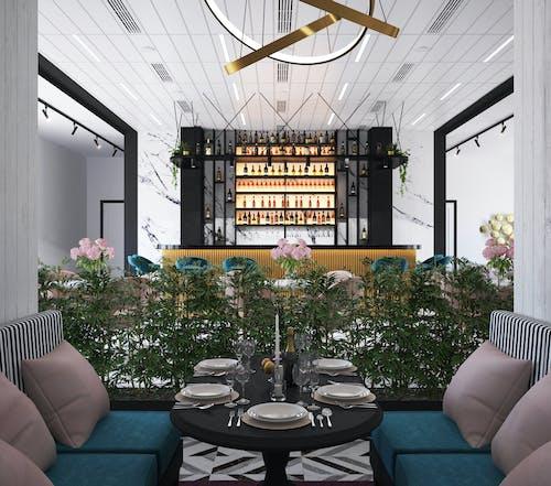 Elegante Diseño Interior De Cafetería Con Muebles Modernos.