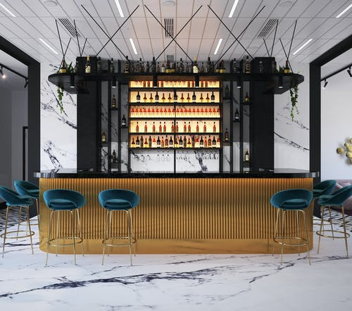 Conception De Comptoir De Bar Moderne Au Café
