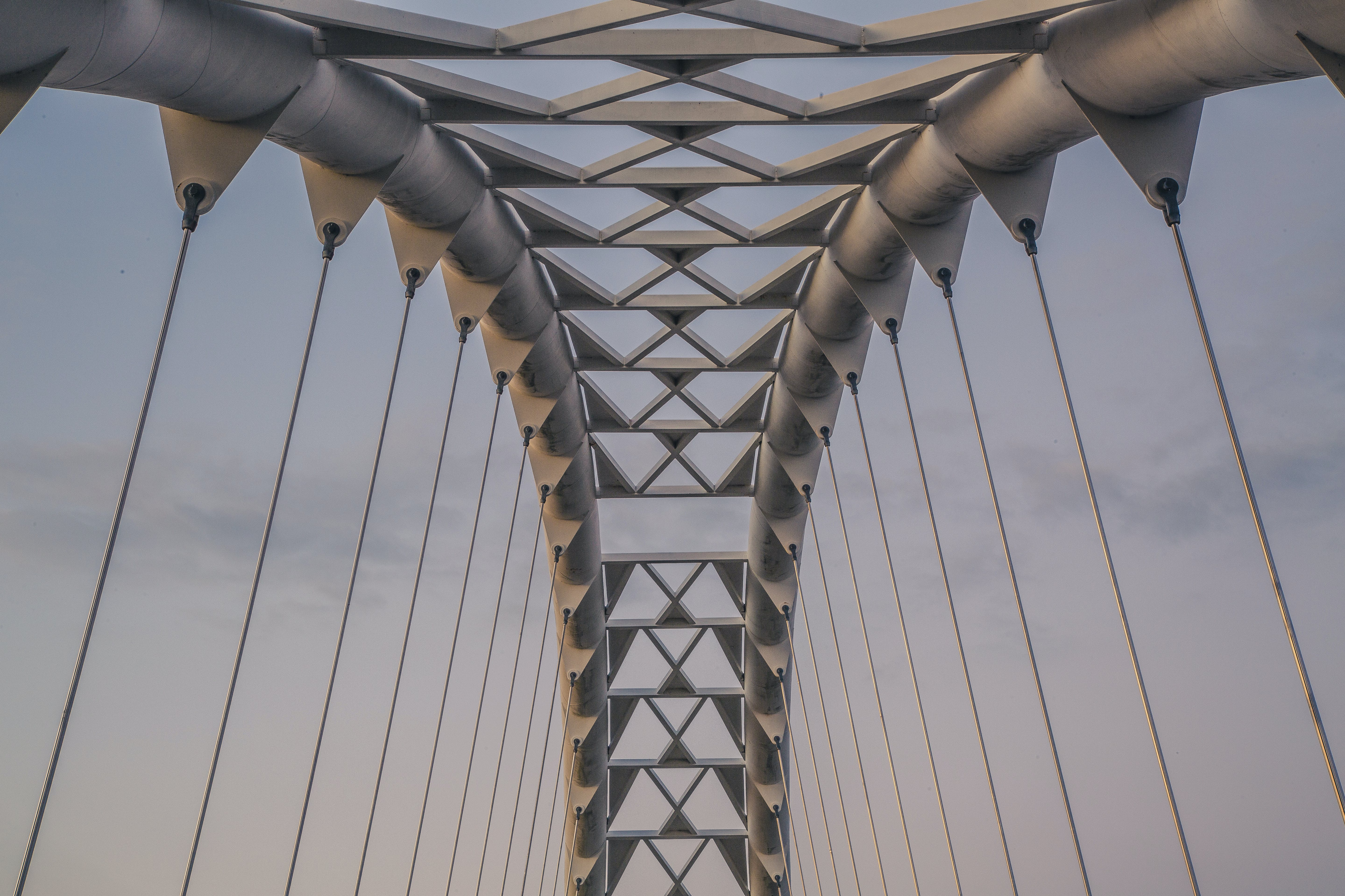 Architectural Photography of Gray Suspension Bridge