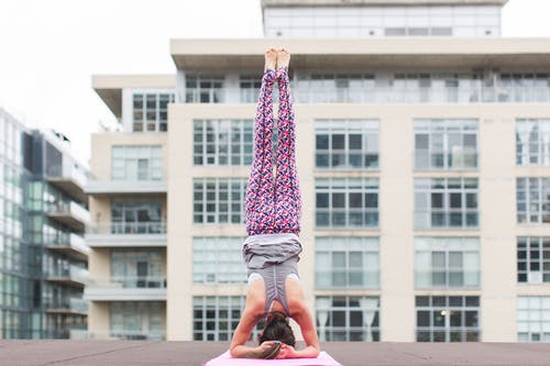 Woman on Headstand Yoga Position
