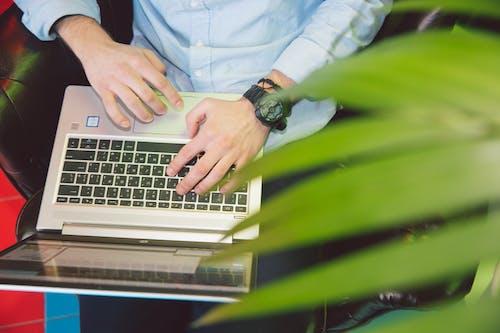 Persona Con Camisa Blanca Usando Laptop