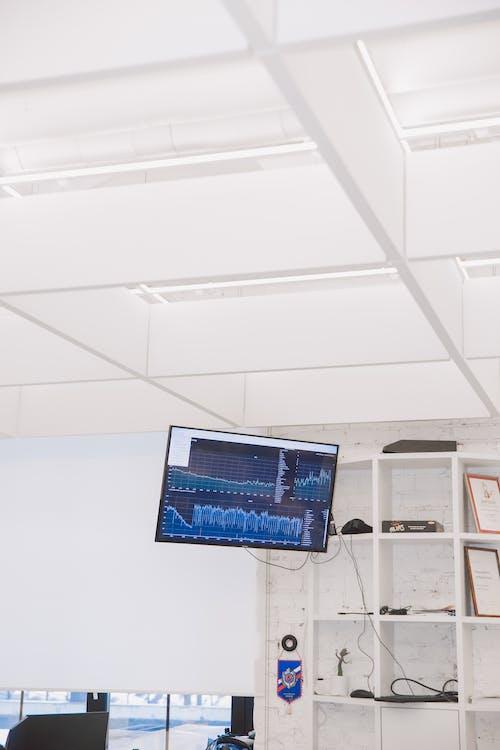 Monitor De Computadora De Pantalla Plana Negra Encendido Cerca De La Pared Blanca