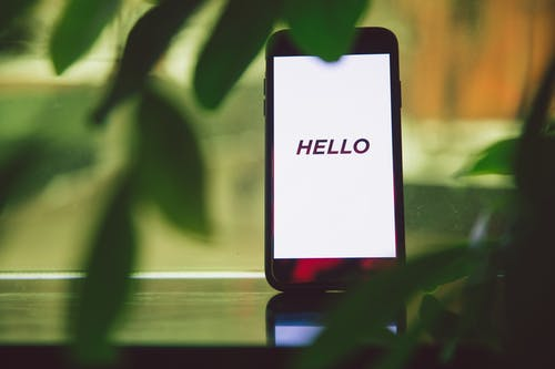Hello Text on Smartphone Screen