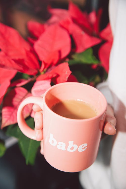 Pink Ceramic Mug With Coffee