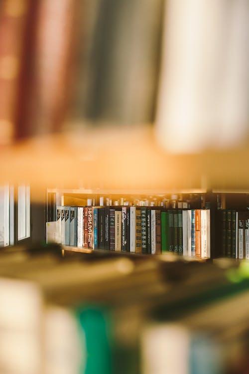 Selektiver Fokus Foto Von Büchern Auf Bücherregalen