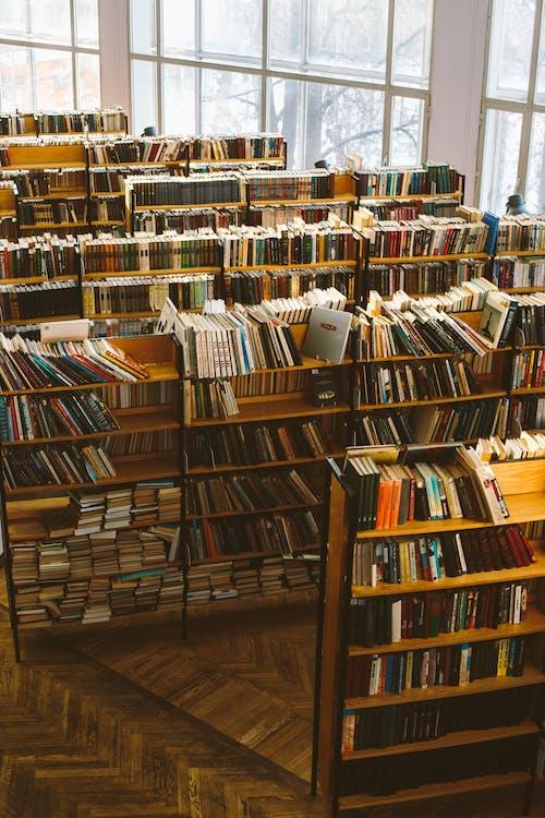 Libros En Estantes De Madera Marrón