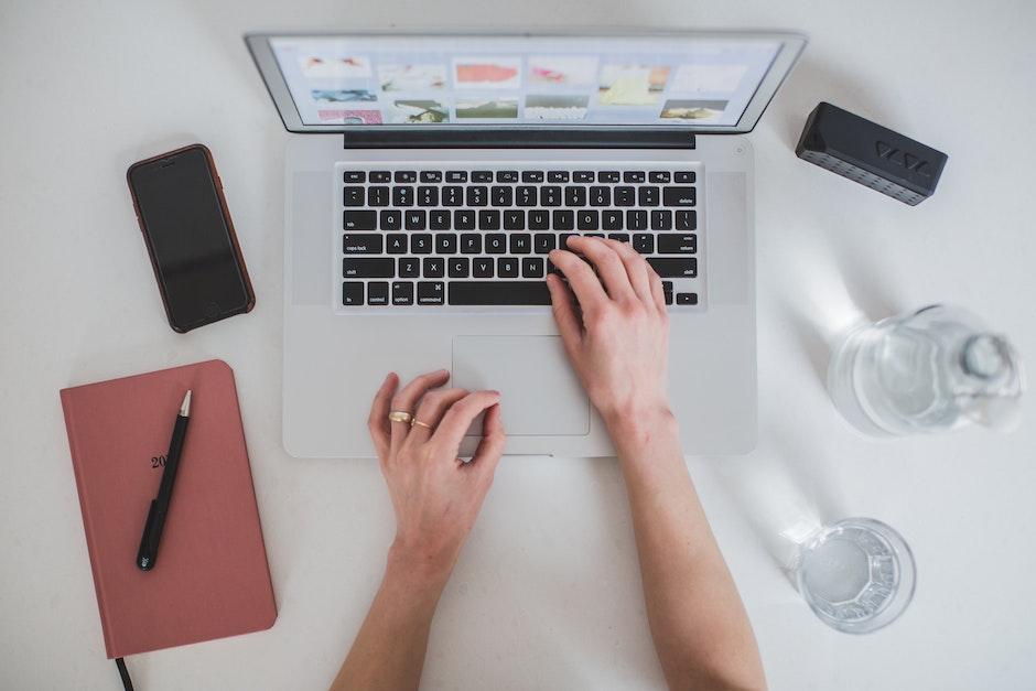 computer, electronics, hands