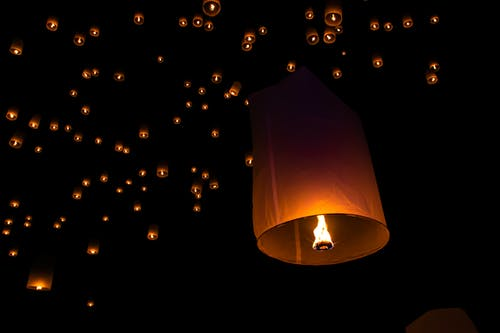 Fire Lanterns at Night