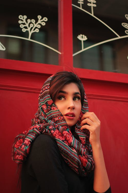 Woman in Red Hijab