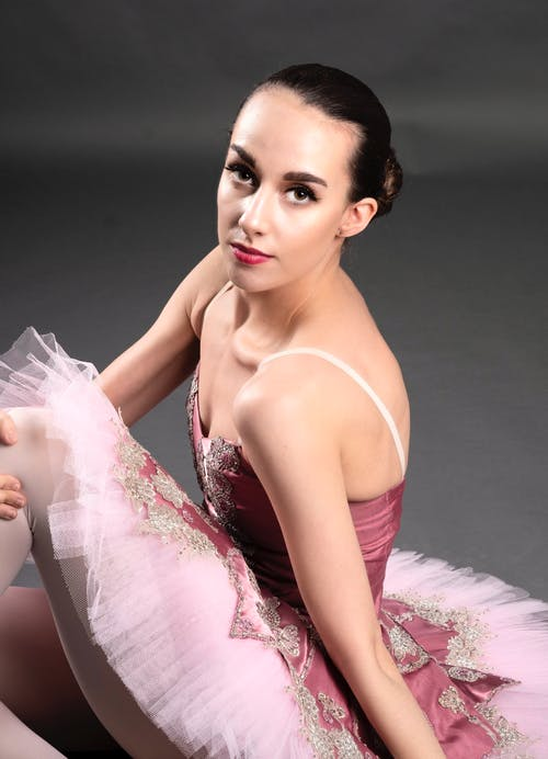 Woman in Pink Spaghetti Ballet Dress