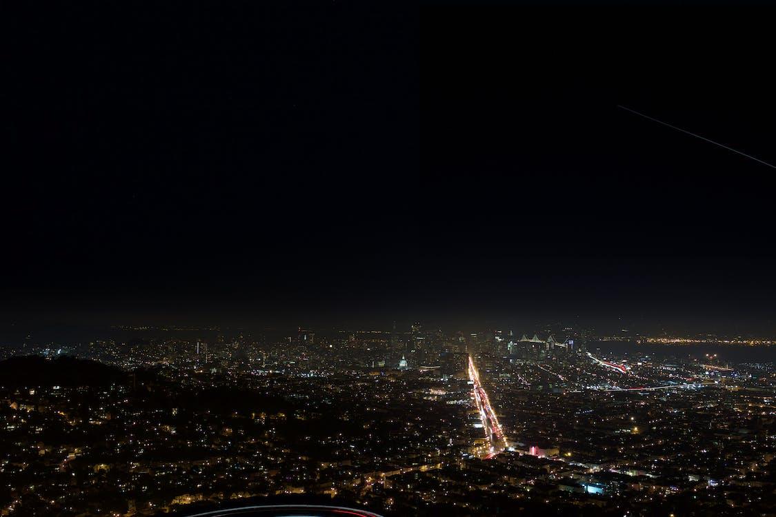 belyst, by, byens lys