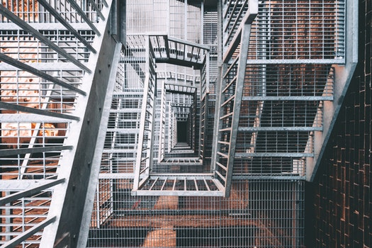 Free stock photo of stairs, architecture, steel, top view