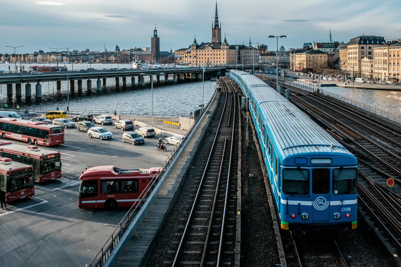 Free stock photo of busses, city, Slussen, stockholm