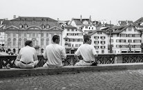 black-and-white, people, three