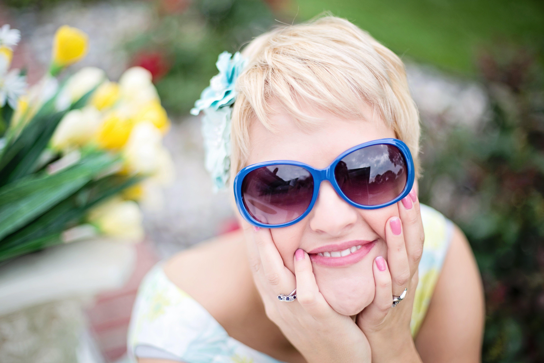 Woman's Blue Framed Sunglasses
