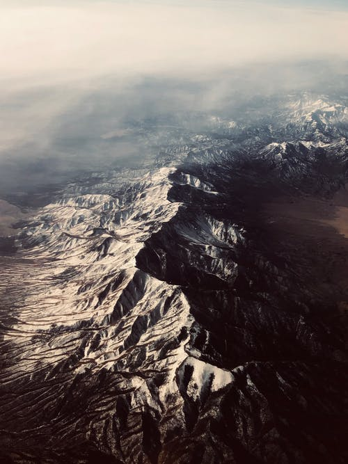 Aerial View of Gray Rocky Mountain