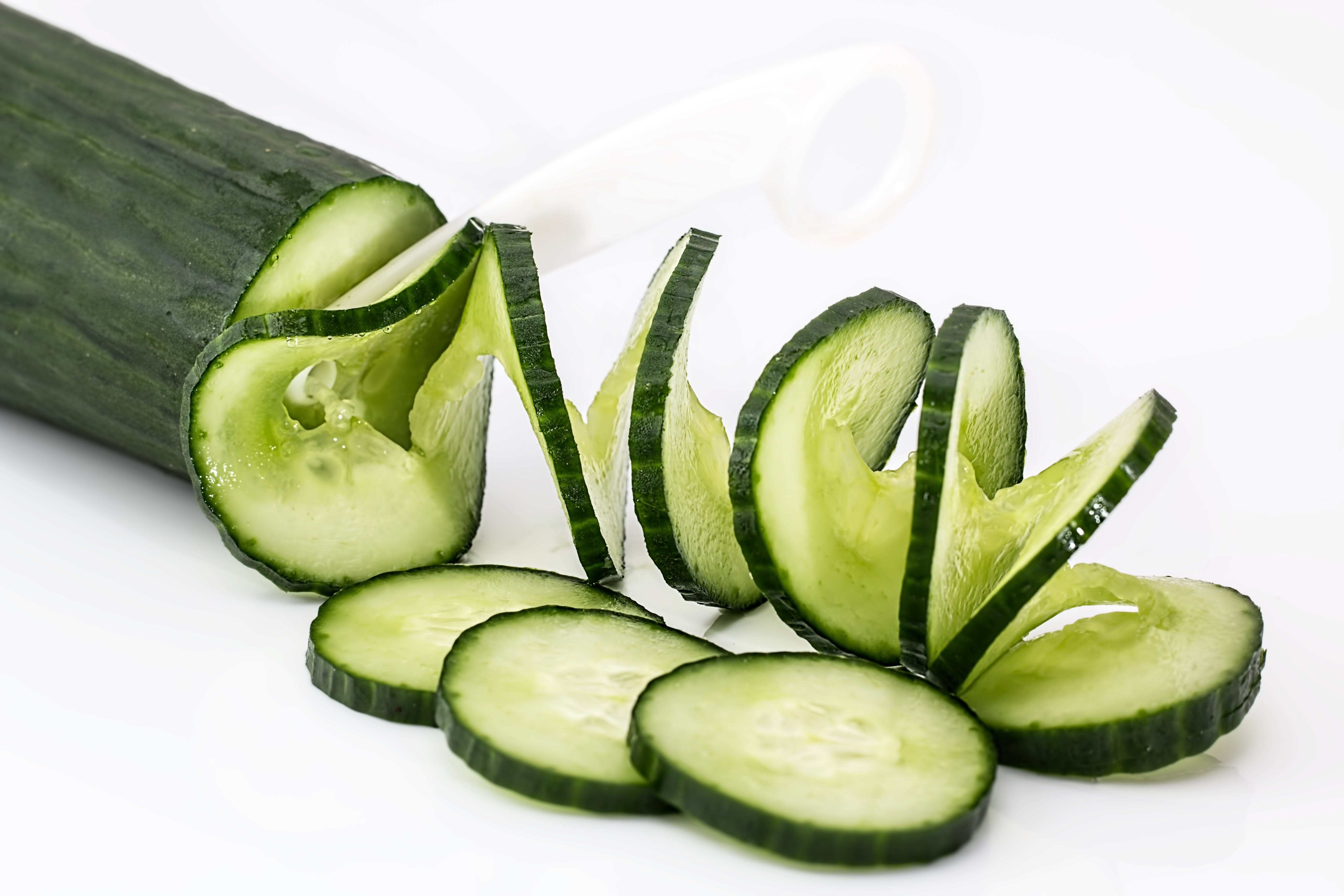 Sliced Cucumber on White Table