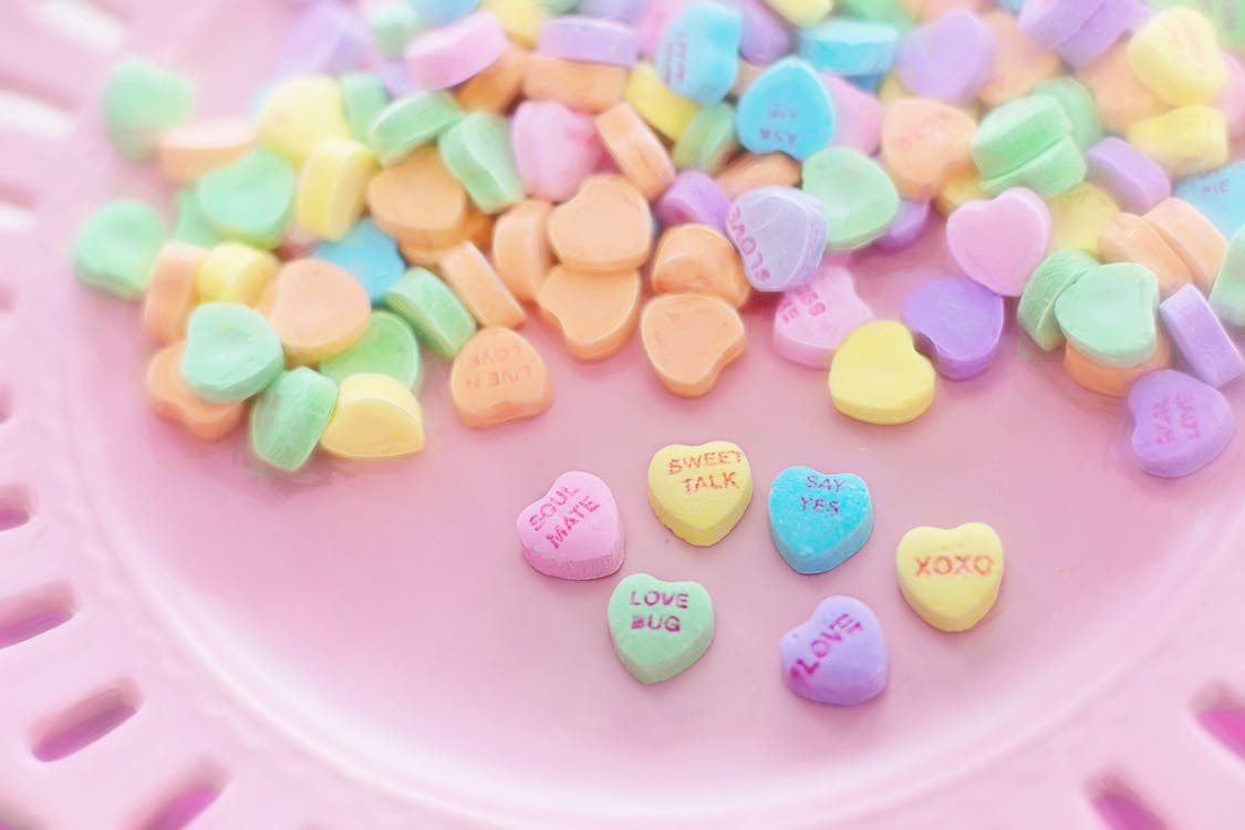 Assorted-color Heart-shaped Candies for Valentine's Day