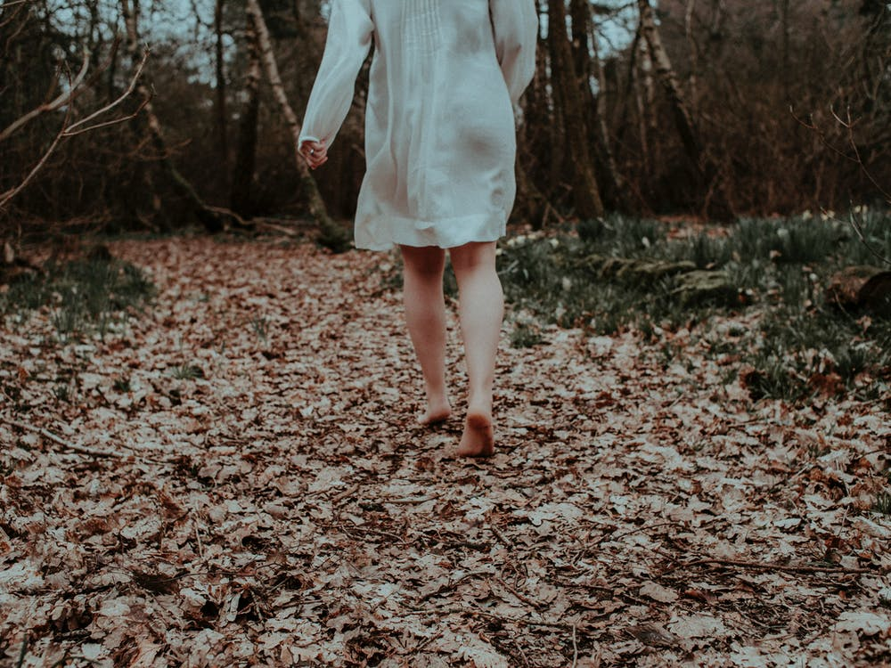 Photo Of Person Walking On Dried Leaves