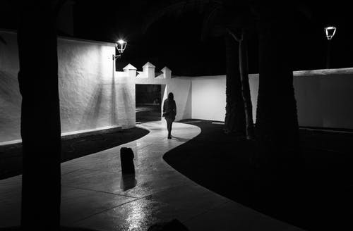 Free stock photo of black and white, night, walking