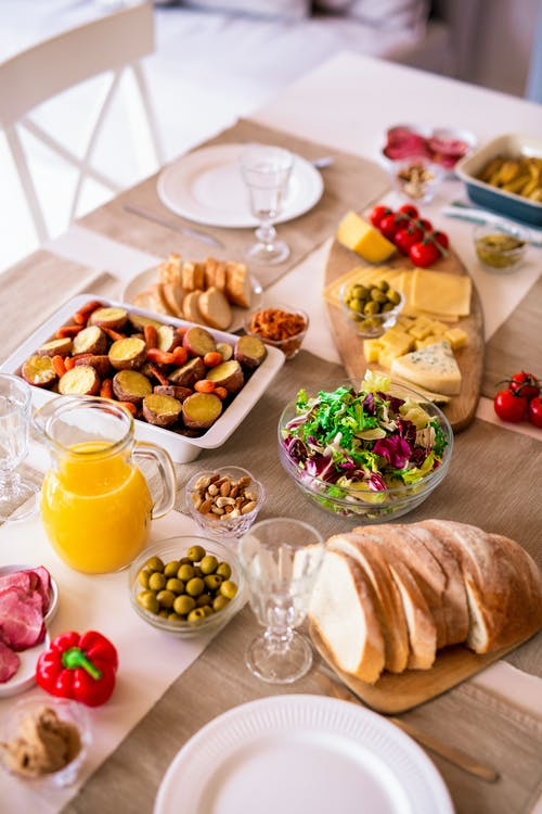 Assorted Foods On Table