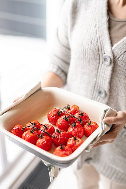 Red Tomatoes On White Ceramic Tray