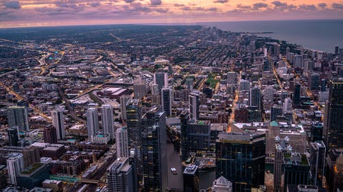 Bird's Eye View Of City During Dawn