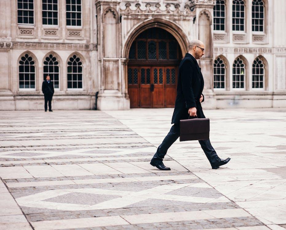 abbigliamento, aziendale, camminando