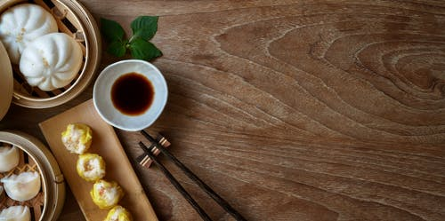 Dumplings On A wooden steamer