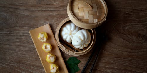 Photo Of Steamed Buns On Bamboo Steamer