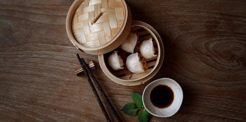 Photo Of Dumplings On Bamboo Steamer