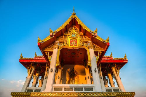 Thai Temple Under Blue Sky