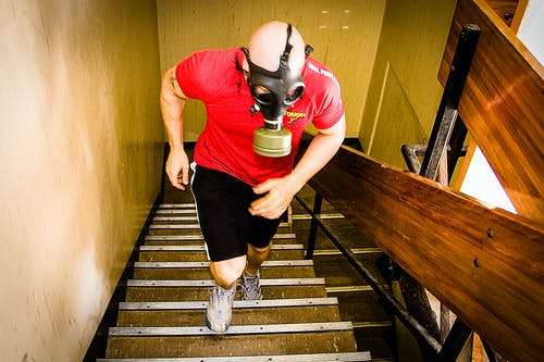 Free stock photo of cavemantraining, gas mask, stairs, taco fleur